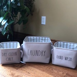 🆕 Rae Dunn LAUNDRY DRY CLEAN ONLY & HAND WASH Set